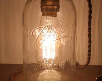 Mason Jar lamp with silk cord
