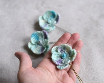 Baby blue orchid hairpins, soft orchid flowers, crocheted wool orchid flowers, Phalaenopsis Orchids