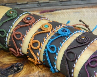 Leather and macramé bracelets
