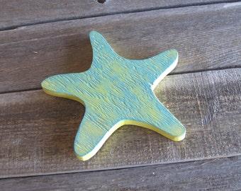 Yellow Starfish with Dry-Brushed Blue Wood Wall Decor Bathroom Nursery Nautical Ocean Beach Themed Home Decor