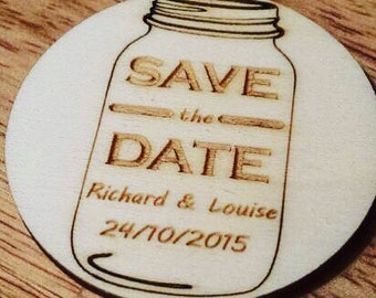 Save the date wooden magnets personalised, mason jar design, wedding keepsake and thank you gift, rustic wedding, packs of 10.