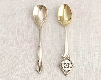 Antique Silver Condiment Spoons /  Pair of Salt Spoons.