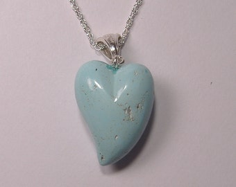 Turquoise Heart Pendant with Sterling Silver Chain