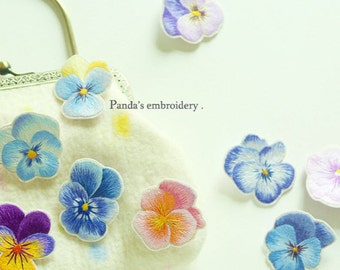 Embroidery colorful pansy brooch