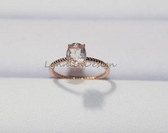 Vintage Halo Oval Morganite Ring 14K Rose Gold Morganite Engagement Ring Morganite Wedding Ring Gem Bridal Ring