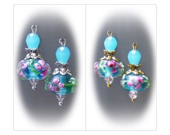 Aqua blue Lampwork  petite drop earrings, choose gold or silver trims, and clip on or pierced