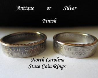 "North Carolina Quarter Handmade ""SEALED"" Coin Ring ""FREE SHIPPING"""