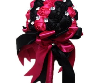 Handmade Black Hot Pink Wedding Bridal Bouquet Flower Girl Bridesmaid Holding Flowers Crystal Accents