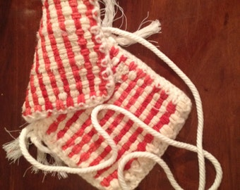 Adorable red and white handmade potholder purse