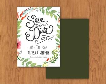 Floral Save the Date // Printable, DIY Wedding, Custom Designs