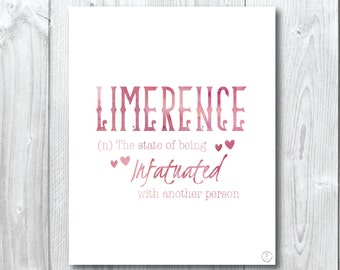 Beautiful words collection : Limerence, the state of being infatuated / watercolour- Wall/Art Print A5, 20x25cm, A3