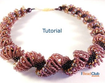 Seed Bead Necklace Pattern - Beaded Necklace Pattern - Beading Pattern and Tutorial - Beadweaving Jewelry PDF - Dutch Spiral Necklace