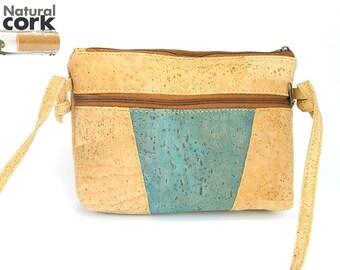 MB Cork, cork messenger bag, Portuguese original, blue women, casual, waterproof , environmentally friendly, wear, handmade bag