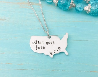 United States Necklace - Best Friends - Moving Away Gift - Hand Stamped Necklace - Long Distance Relationship - Personalized Necklace - Gift
