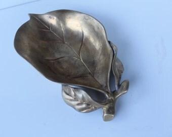 Vintage Bras Leaf Dish- Business Card Holder.