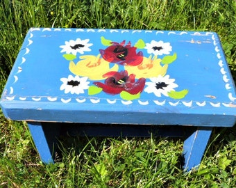 Small Hand Painted Stool - barge art style floral painted flowers blue stool country stool cottage furniture rustic style folkart chippy