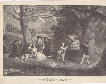 """Antique Engraving """"The Swing"""" 1862 Publication"""