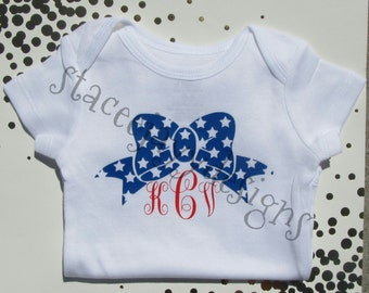 Star bow with monogram shirt for babies