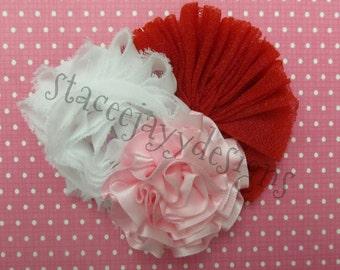 Pink, red and white trio headband set