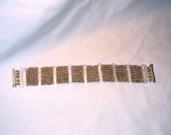Silver herringbone cuff