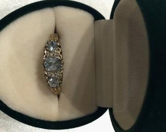 9K Gold, Aquamarine and Diamond Vintage ring
