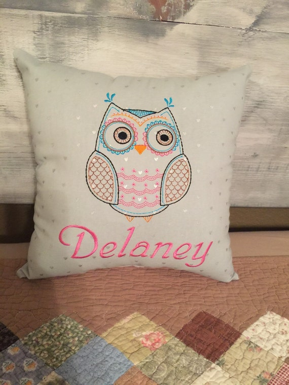 Owl Throw Pillow Etsy : Items similar to Personalized Owl Throw Pillow on Etsy