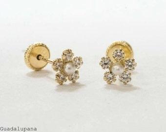 14k Cubic zirconia flower earrings.