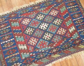 Antique Persian Or Kurdish Jaff Bagface Rug Size 3'8''x2'4''