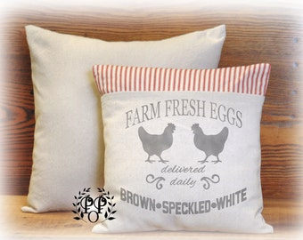 Farmhouse Pillow, Fresh Eggs