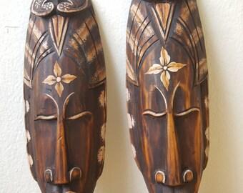 2 Pcs.Hand Carved African Tribal Wooden Mask Design 2