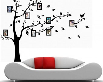 Black Wall Decal Sticker Removable Photo Frame Tree Family Quote Branches Home Decor....Left or Right Facing....Free Shipping in US!