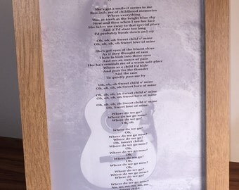 Song lyrics art print - For Him Anniversary / First Dance / Dad / Granddad / Uncle / Husband / Brother / Boyfriend - Any Song! Guitar