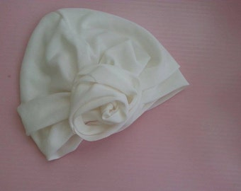 White/Creme Turban with Flower in the front-head cover chemo-Handmade head wrap-hijab-muslim arab hat-oriental head scarf