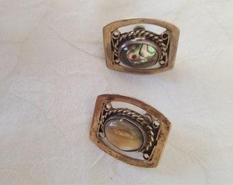 Vintage FARFAN Mid Century Modern Abalone Sterling Silver Mexico Screw-back EARRINGS