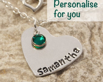 Personalised Heart Necklace with a Swarovski Elements Birthstone Charm