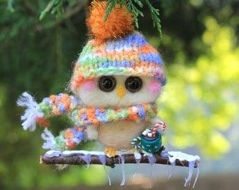 Needle Felted Owl Ornament Marshmallow Hot Cocoa