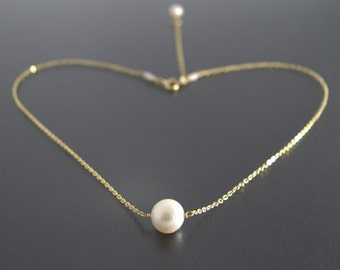 Single Pearl necklace, June Birthstone Jewelry, Floating Freshwater Pearl Choker, White Ivory Pearl, 14K Rose Gold Filled/ Sterling Silver