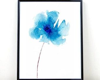 Flower Print, Printable Art, Blue Flower, Watercolor Flower, digital Download, Blue Wall Art, Home Decor, Wall Decor