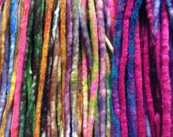 Full set of handmade double ended wool dreadlocks. Choose your colour(s)!