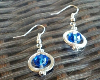 Blue Glass Bead and Silver Earrings