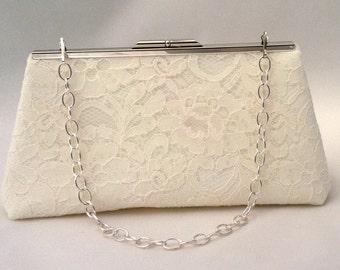 Ivory Lace Summer Purse Handbag ~ Cream Summer Party Handbag Clutch ~  Evening Cocktail Clutch Purse