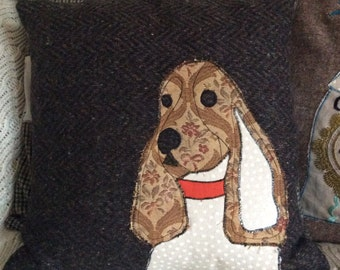 Spaniel patchwork applique Cushion