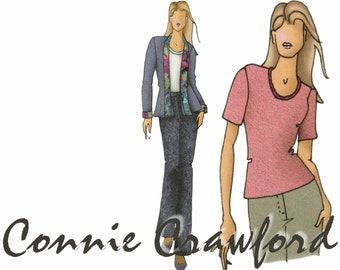 Connie Crawford Pattern BUTTERICK B5053 XS-XL Uncut Casual Jacket Pattern Straight Leg Pants Pattern Short Sleeve Top