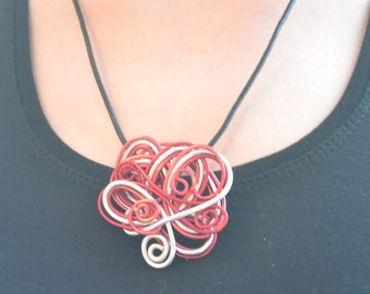 Handcrafted silver and red aluminium wire necklace.