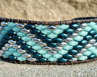 Zig zag, leather beaded bracelet, single wrap bracelet, bohemian bracelet, leather wrap bracelet, beaded  bracelet, leather Cuff bracelet