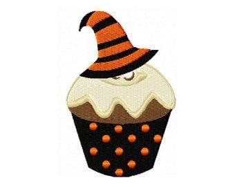 Cupcake Embroidery Design, Halloween Cupcake, Witch Hat Cupcake, Witch Embroidery Design, Girls Halloween, Girls Cupcake Embroidery Design