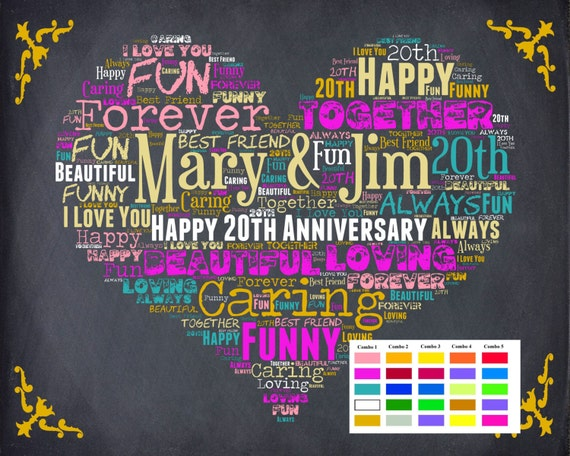 Twenty Wedding Anniversary Gift: Items Similar To Personalized 20th Anniversary Gift 20th