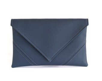 Letter clutch Navy blue clutch purse Navy clutch bag Vegan leather clutch Bridesmaid clutch Blue vegan bag Evening bag Gift for her Envelope