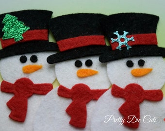 Felt Snowman, Pack of Snowmen, Christmas Decoration,, Christmas Shapes, Pretty Die Cut Christmas Craft Embellishments