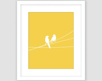 Mustard Yellow and White, Birds on a Wire Print, Animal Wall Art, Modern Art, Instant Download, DIY, Printable